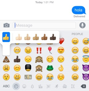 iPhone's new emoji icons with colored hands